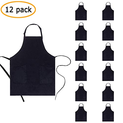 - BOHARERS Adjustable Bib Apron with 2 Pockets Durable Comfortable Easy Care Cooking Kitchen Aprons for Women Men Chef Black (Seperated Pockets-12 Pack)