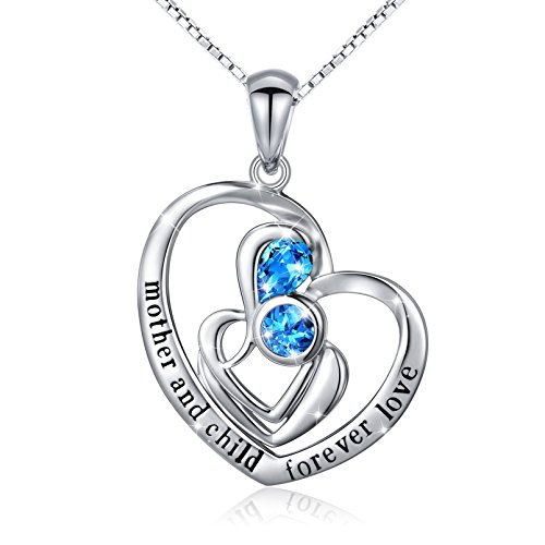 S925 Sterling Silver Mother Child Love Heart Pendant Necklace for Women Jewelry Girl Gifts for Mom
