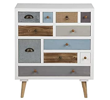 Scandinavian Retro Sideboard In White Frame With Vintage Multi