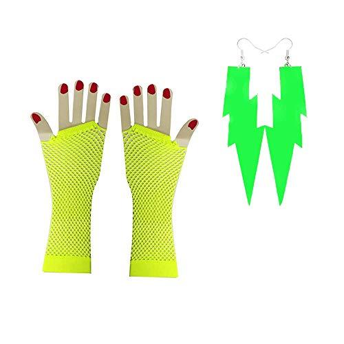 HANGSET 80's Neon Earrings Fingerless Fishnet Gloves for 80's Party,Halloween, St. Patrick's Day (Green 2 -