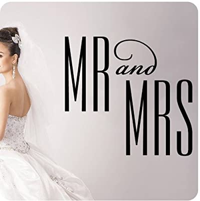 Mr. And Mrs. Bride and Groom Wedding Anniversary Celebration Party Gift Wall Decal Quote Large Sticker ART Mural Large Nice Bride Groom Love Decoration Decor
