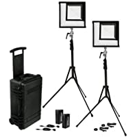 Westcott Flex 1x1 Bi-Color LED Mat 2-Light Cine Travel Kit with Batteries and AC Adapters