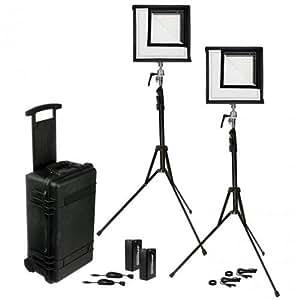 Westcott Flex 1x1' Bi-Color LED Mat 2-Light Cine Travel Kit with Batteries and AC Adapters