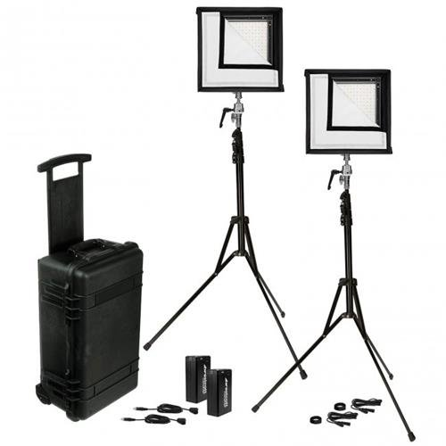 (Westcott Flex 1x1' Bi-Color LED Mat 2-Light Cine Travel Kit with Batteries and AC Adapters)
