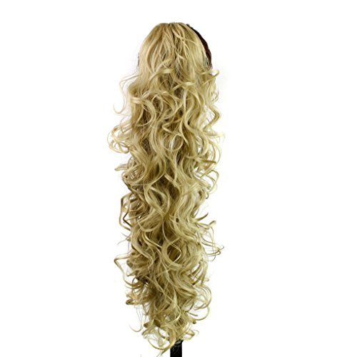 S-ssoy 31(78cm) Womens Curly Pony Tail Hair Piece Synthetic Claw Clip Ponytail Wavy Long Curled in Hair Extension Extensions Long/Voluminous Wig Hairpieces for Women Girls Lady,24#