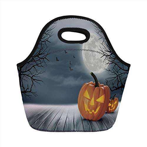 Portable Lunch Bag,Halloween,Cold Foggy Night Dramatic Full Moon Pumpkins on Wood Board Trees Print,Grey Orange Black,for Kids Adult Thermal Insulated Tote Bags ()
