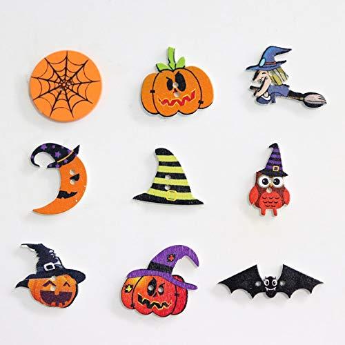 Autumn Water 50PCS Halloween Wooden Buttons Mixed Pumpkin Hat Owl Bats 2 Hole Sewing Craft Button for DIY Clothing Accessories Scrapbooking]()
