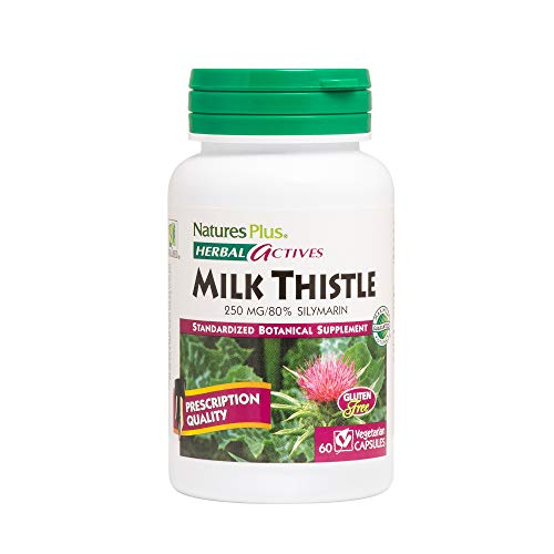 (Natures Plus Herbal Actives Milk Thistle - 250 mg, 80% Silymarin, 60 Vegan Tablets - Liver Detox & Regenerator Support Supplement, Anti Inflammatory - Vegetarian, Gluten Free - 60 Servings )