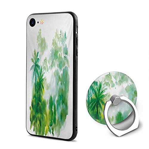 Green iPhone 6/iPhone 6s Cases,Abstract Watercolor Artful Image of Forest Palm Trees Print Forest Green Pale Green and White,Design Mobile Phone Shell Ring Bracket