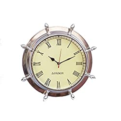 Hampton Nautical Chrome Ship Wheel Clock, 15