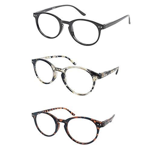 KoKoBin Retro Round Reading Glasses for Men Women Spring Hinged Readers Stylish Pattern Design Thin Reader Glasses Plastic Frame 2.00 Strength