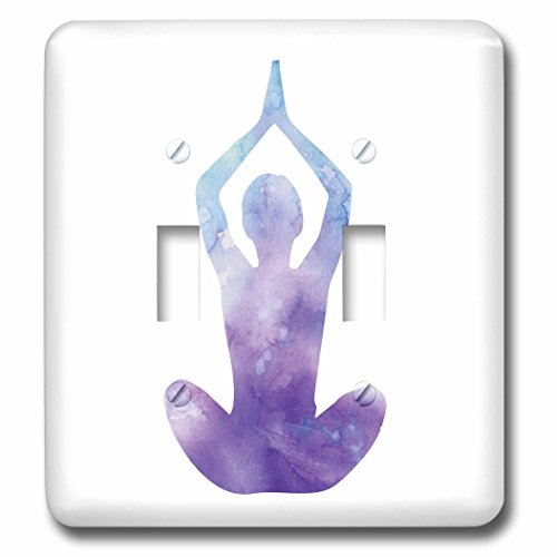 3dRose Sven Herkenrath Buddha - Purple Yoga Women with Colorful Design Buddha Meditation - Light Switch Covers - double toggle switch (lsp_254264_2) by 3dRose