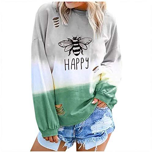Women's Sweatshirt Fashion Letter Gradual Long Sleeve Long Sleeve Round Neck Shirt Blouses Loose Casual Pullover