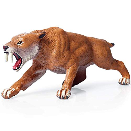 (Kolobok - Safari Animals Action Figures - Smilodon Sabertooth Tiger - Zoo Prehistoric Animals Educational Toys)