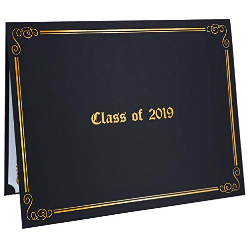 Best Paper Greetings 12-Pack Graduation Diploma Holder Covers for Class of 2019 Letter-Size Certificate Documents, Black with Gold Foil Designs, 11 x 8.5 Inches