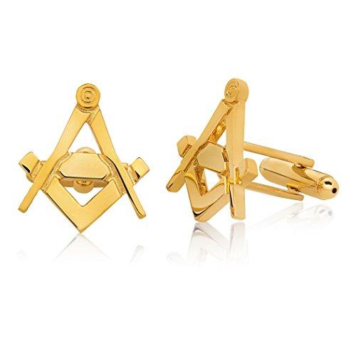 Crucible Jewelry Mens Gold Tone High Polished Masonic Cuff Links, One Size - Jade Set Cufflinks