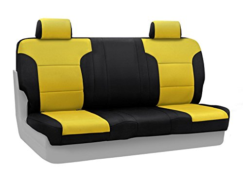 Coverking Custom Fit Rear Solid Bench Seat Cover for Select Jeep Wrangler Models - Neoprene (Yellow with Black Sides)