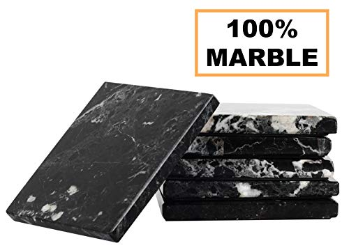 Coaster Set of 6 Handmade Marble 3.5 Inch Coasters Set Spoon Rest Warming Coffee Mug Mat Coasters - Non Ceramic, Rubber and Metal - Kitchen Caddy, Office Pot Drink Non Ceramic