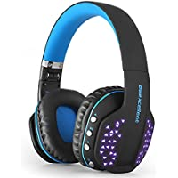 Bluetooth Wireless Headphones, LOL-FUN Foldable Noise Cancelling Over-ear Headset with Microphone LED Light for PS4 PSP Laptop Desktop Smartphone (Black-blue)