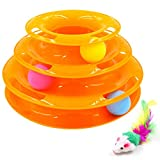 Petove Cat Toys Tower of Tracks 3 Level Cat Tracks Interactive Ball Toy and Feather Fluffy Mouse Toy Set for Cat, Kitten (Orange)