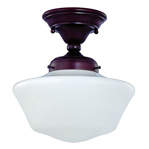 120v Line Voltage Round Canopy (10-Inch Bronze Schoolhouse Ceiling Light)