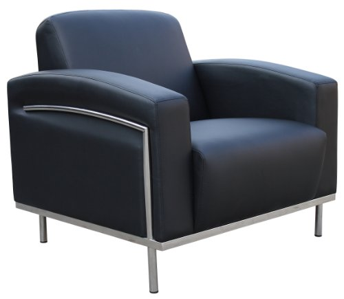Boss Office Products BR99001-BK CaressoftPlus Lounge Chair with Chrome Finish in Black