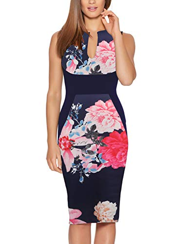 Fantaist Women's Summer Sleeveless Patchwork Navy Floral Print Casual Day Dress (M, FT601-Navy) -