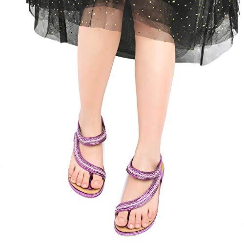 Camfosy Pieds Femmes Claquettes Plage Plates Sandales Violet Tongs Noir Beige À Confortables 2019 Plats Talons De Argentée Bleu Été Ville Nu Compensées Chaussures rq8rP5E