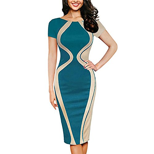 Women Colorblock Optical Illusion Short Sleeve Cocktail Work Pencil Dress Sexy Bodycon Business Dress Chaofanjiancai Green