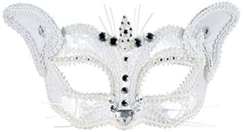 [Forum Novelties Women's Lace Cat Half Mask Glasses, White, One Size] (White Cat Costume For Women)
