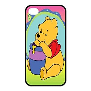 4s Case, iPhone 4 4s Case - Fashion Style New Winnie the Pooh Painted Pattern TPU Soft Cover Case for iPhone 4/4s(Black/white)