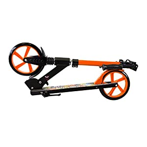 Scale Sports Teen/Adult Orange Kick Scooter Portable Lightweight Adjustable Suspension Rear Brake
