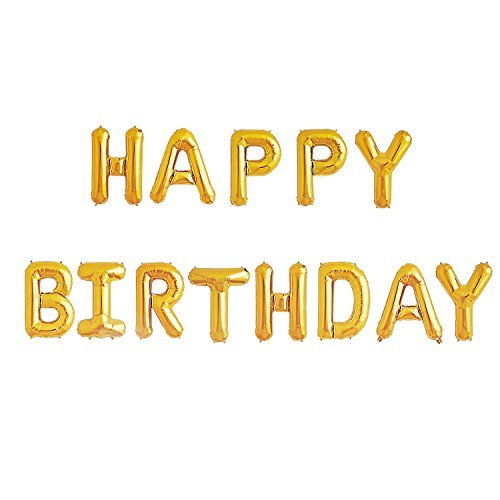 Happy Birthday Balloons Banner - Gold Mylar Foil Letter Balloons for Kids Girl Adult Baby 1st 2nd 3rd Birthday Party Decoration With 13 Balloons HAPPY BIRTHDAY,3 Free Straws,Reusable -