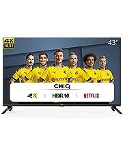 CHiQ U43H7L UHD 4K Smart TV, 43 inch (108 cm), HDR10 / hlg, WiFi, Bluetooth, Prime Video, Netflix 5.1, YouTube Kids, 3 HDMI, 2 USB, frameloos
