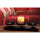 V-More Pillar Candle Holder with Black Metal Stand 3 Pillar Centerpiece for Wedding Party Home Décor