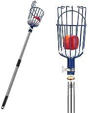 OAK LEAF Fruit Picker, 13 Foot Fruit Picker Pole with Basket Apple Orange Picker Tool Tree Fruit Catcher with Lightweight Stainless Steel Connecting Pole, Sturdy Basket with Foam Pad, Metal Clamp
