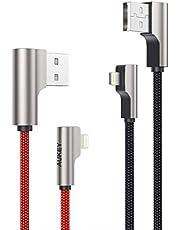 AUKEY Cavo Lightning (1m - 2 Pezzi) Nylon & Connettore Metallico [Apple MFi Certificato] Ideale per Giocare i Giochi Cavo iPhone per iPhone X / 8/8 Plus, iPad e d'Altri Dispositivi Apple