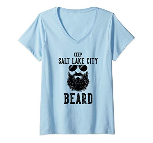 Womens Keep Salt Lake City Utah BEARD Funny Hipster Retro  V-Neck ()