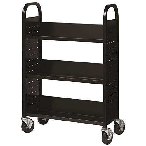 Hirsh Rolling Library or Home Office Single-Sided Sloped Shelves Book Cart with Lockable Wheels in Black