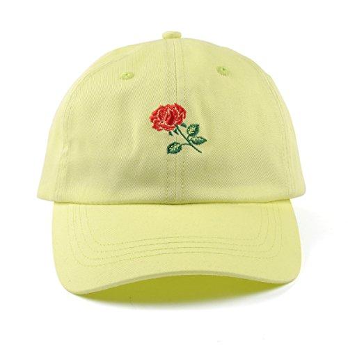 Rose Adjustable Dad Hat Women Cotton Floral Baseball Cap (Lemon Green) for $<!--$10.99-->