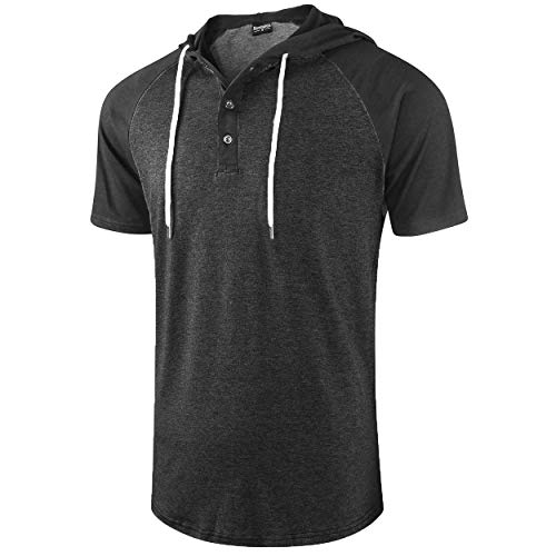 (Moomphya Men's Jacquard Knitted Casual Short Sleeve Raglan Henley Jersey Hoodie T Shirt (A1 Black1 SL, Large))
