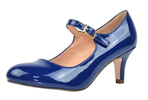 Pumps Chloe Leather - Chase & Chloe Women's Round Toe Mid Heel Mary Jane Pump (7 B(M) US, Navy Patent)