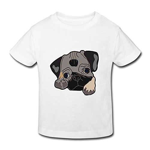 XFSHANG Kids Toddler Fashion Brand New Cute-pug T-Shirt White US Size 2 Toddler