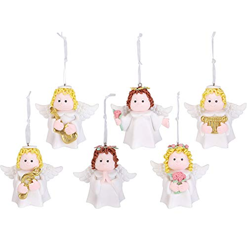 Sea Team Assorted Clay Figurine Angel Ornaments Cute Angels Traditional Hanging Charms Christmas Tree Ornament Holiday Decorations, Set of ()