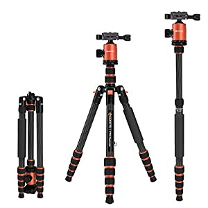 GEEKOTO Carbon Fiber Tripod Monopod 62″ with 360° Ball Head, Aluminum Quick Release Plate DSLR Camera, Video Camcorder, Compact, Capable Beautiful Tripod(CT25 Recorder)