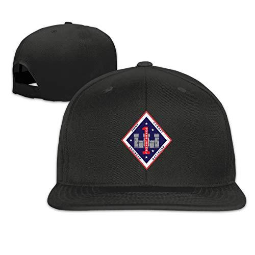 1st Marine Division 1st Combat Engineer Battalion Classic Adult Cap Flat Along Baseball Snapback Cap Unisex Adjustable Black (Hat Marine Division)