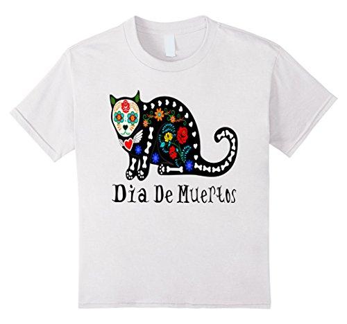 [Kids Calavera Cat Dia de Muertos Tshirt for Halloween Fiesta 4 White] (Dia De Los Muertos Halloween Costume Ideas)