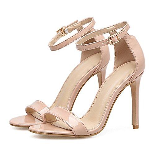 ZHZNVX Zapatos de mujer moda Primavera Verano botas de piel sintética comodidad novedad sandalias Stiletto talón para bodas informales Almendra negro Almond