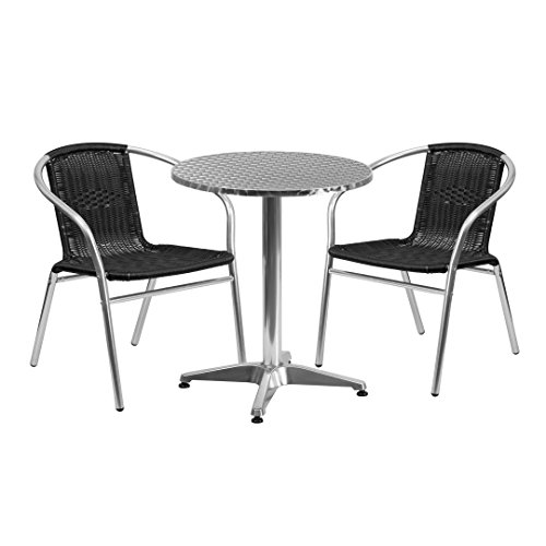 MFO 23.5'' Round Aluminum Indoor-Outdoor Table with 2 Black Rattan Chairs