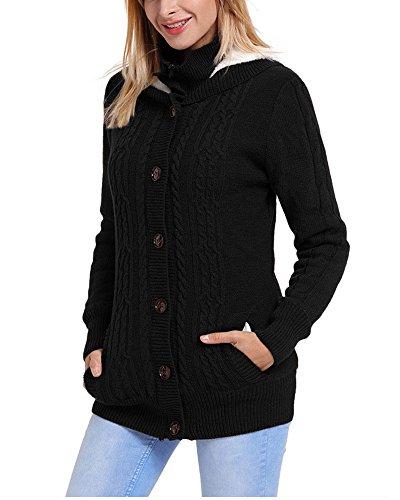 Donna pulsante maglione con cappotto G Black pile trecce Cardigan giù cappuccio a Fengshang la in fYTYqwx5